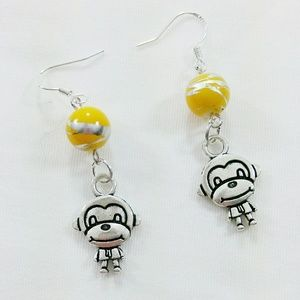 🌟 Banana & The Monkey Earrings